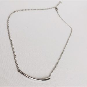 Jewelry - New Dainty Silver Bar Crescent Necklace
